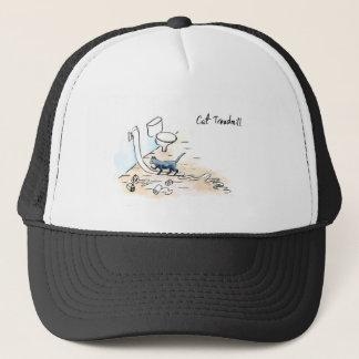 Comic cat treadmill trucker hat
