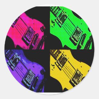 COMIC GUITAR ART CLASSIC ROUND STICKER