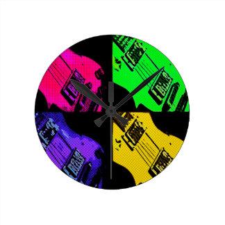 COMIC GUITAR ART ROUND CLOCK
