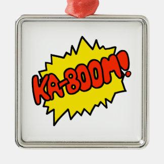 Comic 'Ka-Boom!' Silver-Colored Square Ornament