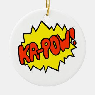 Comic 'Ka-Pow!' Round Ceramic Ornament