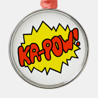 Comic 'Ka-Pow!' Silver-Colored Round Ornament