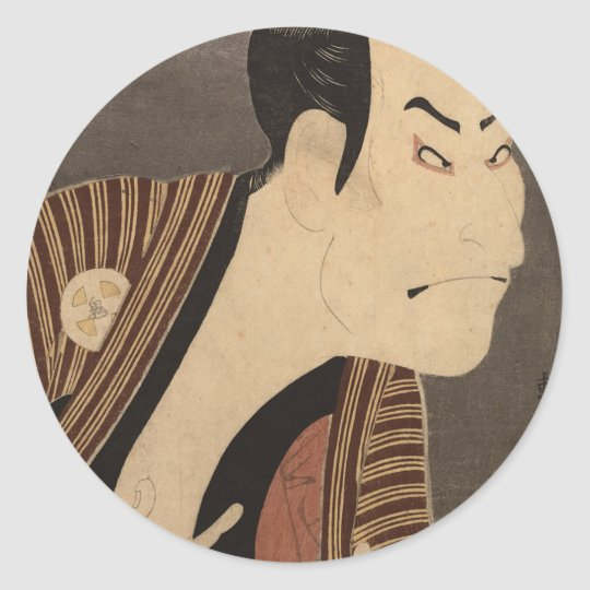 Comic Kabuki Actor Classic Round Sticker