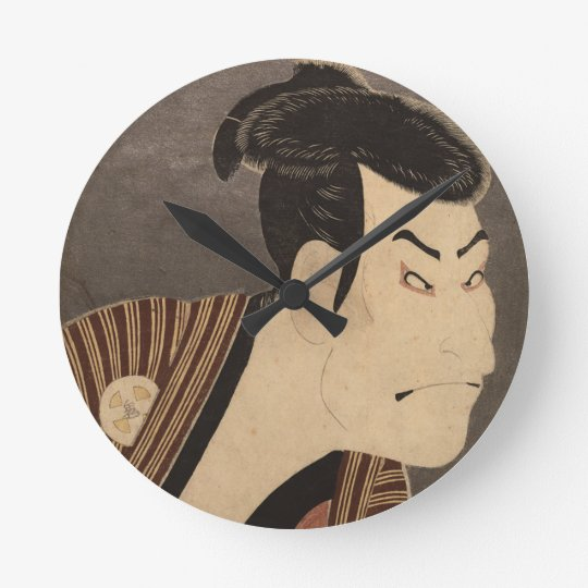 Comic Kabuki Actor Round Clock