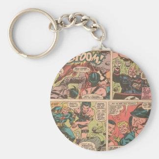 comic basic round button keychain