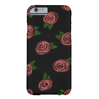 Comic Roses Black Barely There iPhone 6 Case
