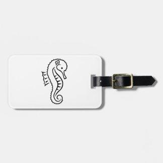 Comic seahorse luggage tag