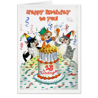 Comic Singing Cats Age-specific 13th Birthday Card