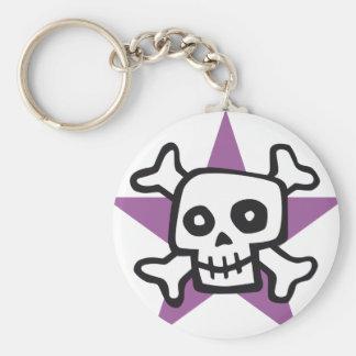 comic skull basic round button keychain