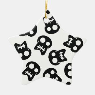 Comic Skull black pattern Ceramic Star Ornament