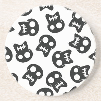 Comic Skull black pattern Coaster