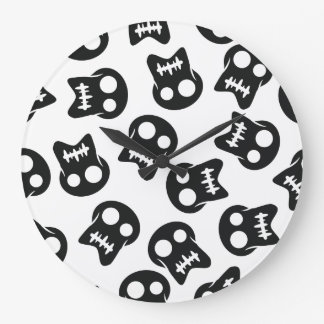 Comic Skull black pattern Large Clock