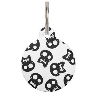 Comic Skull black pattern Pet ID Tag
