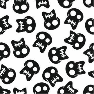Comic Skull black pattern Photo Sculpture Button