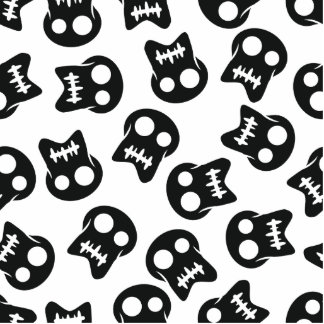 Comic Skull black pattern Photo Sculpture Ornament