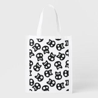 Comic Skull black pattern Reusable Grocery Bag