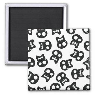 Comic Skull black pattern Square Magnet