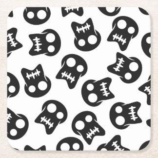 Comic Skull black pattern Square Paper Coaster