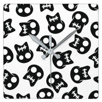 Comic Skull black pattern Square Wall Clock