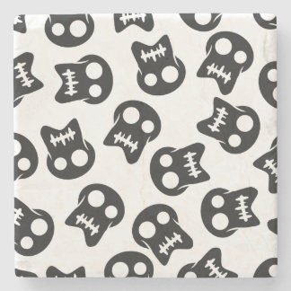 Comic Skull black pattern Stone Coaster