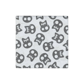 Comic Skull black pattern Stone Magnets