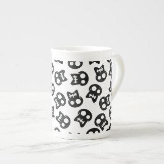 Comic Skull black pattern Tea Cup
