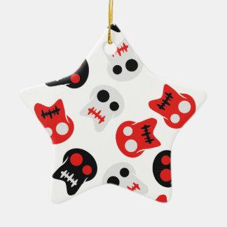 Comic Skull colorful pattern Ceramic Star Ornament