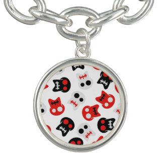 Comic Skull colorful pattern Charm Bracelet