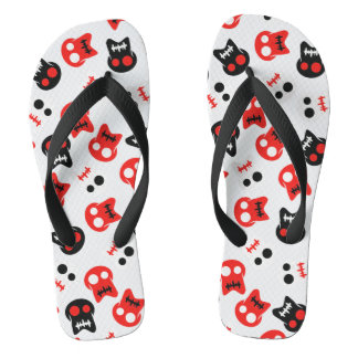 Comic Skull colorful pattern Flip Flops