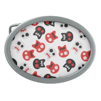 Comic Skull colorful pattern Oval Belt Buckle