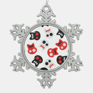 Comic Skull colorful pattern Pewter Snowflake Ornament
