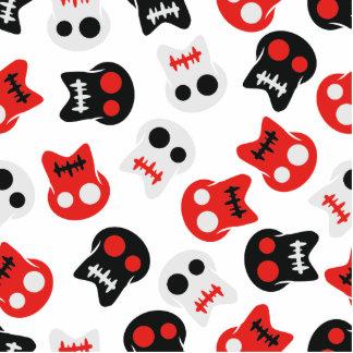 Comic Skull colorful pattern Photo Sculpture Button