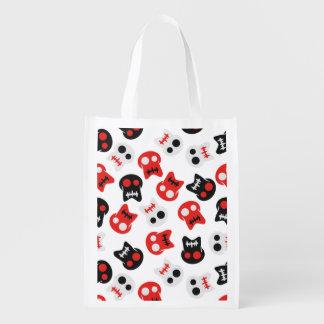 Comic Skull colorful pattern Reusable Grocery Bag