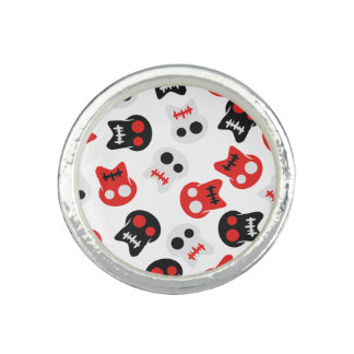 Comic Skull colorful pattern Ring