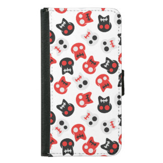 Comic Skull colorful pattern Samsung Galaxy S5 Wallet Case