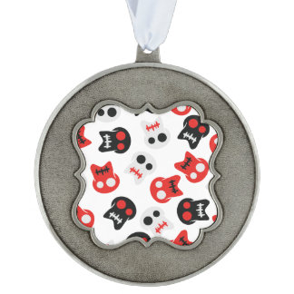 Comic Skull colorful pattern Scalloped Pewter Ornament