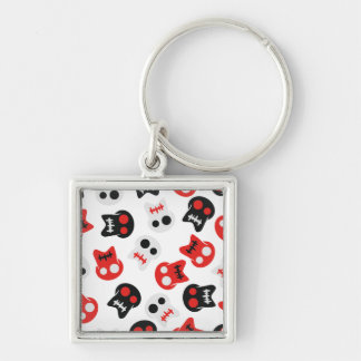 Comic Skull colorful pattern Silver-Colored Square Keychain