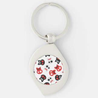 Comic Skull colorful pattern Silver-Colored Swirl Keychain