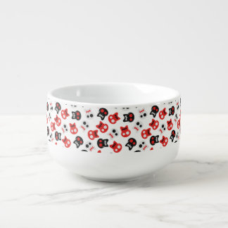 Comic Skull colorful pattern Soup Bowl With Handle
