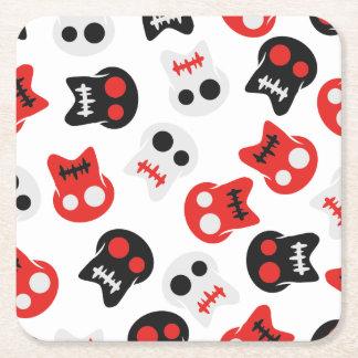 Comic Skull colorful pattern Square Paper Coaster