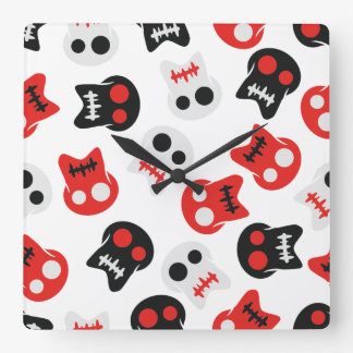 Comic Skull colorful pattern Square Wall Clock