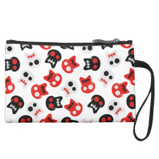Comic Skull colorful pattern Suede Wristlet