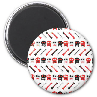 Comic Skull with bones colorful pattern 2 Inch Round Magnet