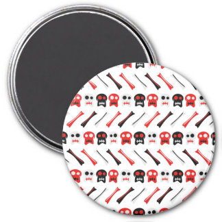 Comic Skull with bones colorful pattern 3 Inch Round Magnet