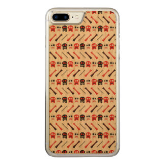 Comic Skull with bones colorful pattern Carved iPhone 8 Plus/7 Plus Case