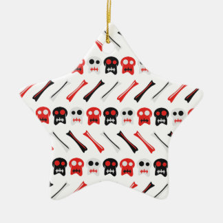 Comic Skull with bones colorful pattern Ceramic Star Ornament