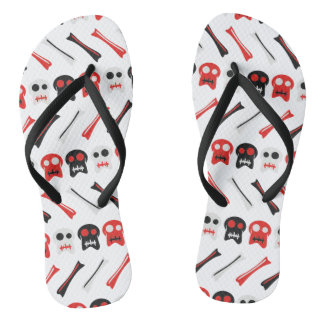 Comic Skull with bones colorful pattern Flip Flops