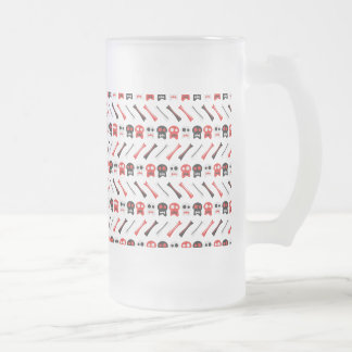 Comic Skull with bones colorful pattern Frosted Glass Beer Mug