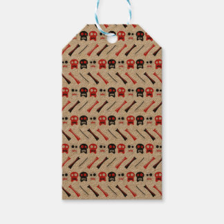 Comic Skull with bones colorful pattern Gift Tags