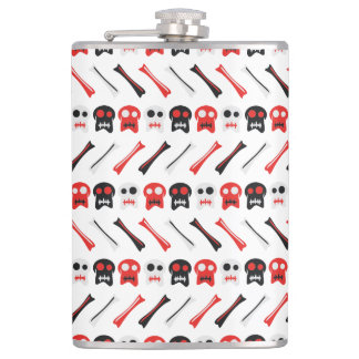 Comic Skull with bones colorful pattern Hip Flask